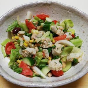 サラダチキンバーと野菜のまろやかごまわさびサラダ