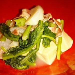 高野豆腐でかさまし☆かぶベーコン煮浸し