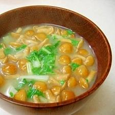 *京菜となめこの味噌汁*