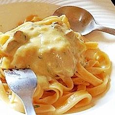 豆乳でヘルシー、牡蠣のクラムチャウダー風パスタ