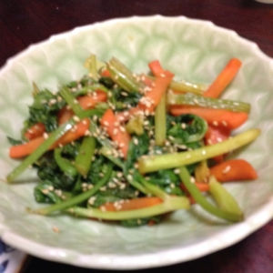 セロリと人参と春菊の焼肉のタレ炒め