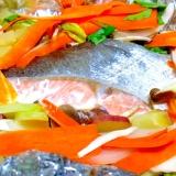 秋味☆ナスとさつまいもの鮭ホイル蒸し♪