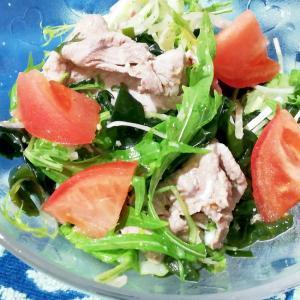 水菜とワカメの簡単豚しゃぶサラダ