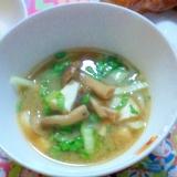 厚揚げとチンゲン菜とシメジの味噌汁