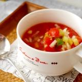 野菜ジュースで簡単★冷製サラダスープ