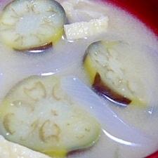 ナスと玉ねぎのお味噌汁♪