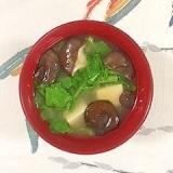 大根の葉・茎、塩とうふ、ひらたけのお味噌汁