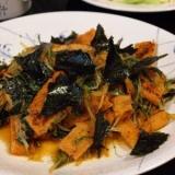 水菜と油揚げのキムチ炒め