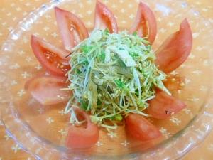 箸休め小鉢☆焼きエノキとカイワレ、蒸し鶏の和え物☆