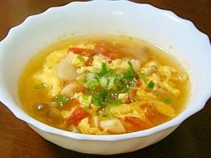 さっぱりトマトのふわふわかき玉スープ♡