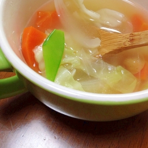 ウインナーとキャベツ人参絹さやスープ