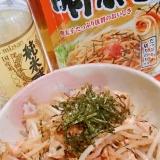 お酢で柔らか鶏胸肉ともやしの明太子ソース炒め