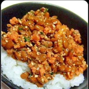 納豆と鮭フレークのご飯