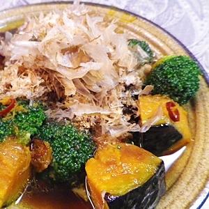 優しいお味、カボチャ椎茸ブロッコリーの揚げびたし