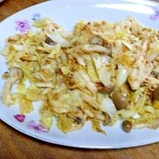 きのことキャベツの豚味噌炒め