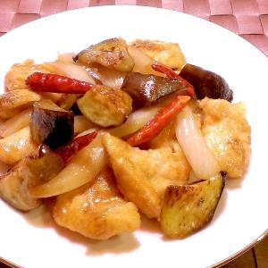 鶏むね肉と茄子の甘辛炒め