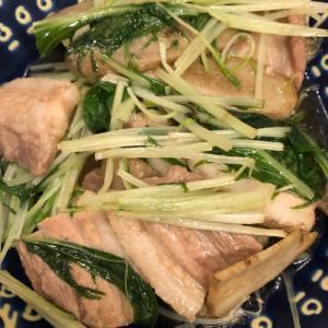 シャキシャキ♪水菜と豚肉とゴボウの甘辛煮^_^