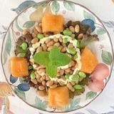 蒸し大豆に、枝豆、メロン