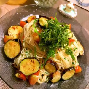 茄子マリネの和風ジンジャーモロヘイヤカッペリーニ