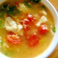 トマトとレタスと卵のコンソメスープ
