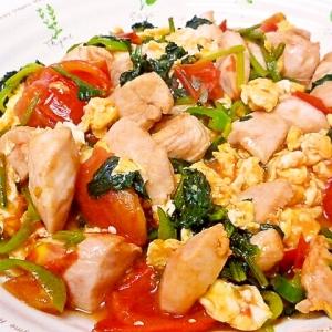 鶏胸肉とトマトと野菜の卵炒め