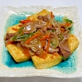 豆腐ステーキ牛肉あんかけ