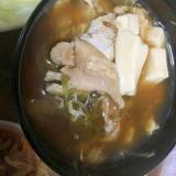 鶏皮と豆腐と茗荷の卵とじ汁