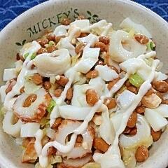 納豆の食べ方-ちくわ&ゆでたまご♪