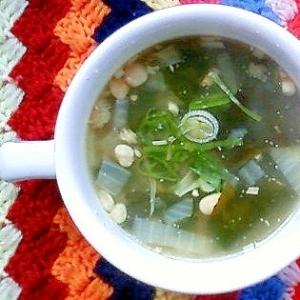 玉ねぎ、えのき、わかめの生姜スープ