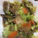 茄子、キャベツ、牛肉の味噌炒め