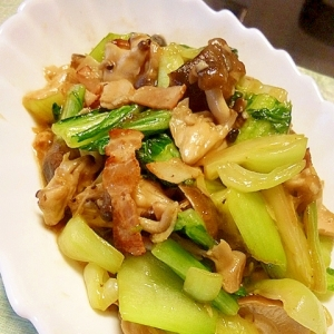 きのことチンゲン菜の中華炒め