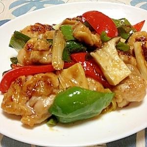 塩麹で下味、鶏の照焼きと野菜炒め