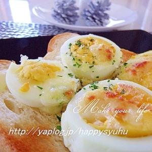 ゆで卵オン☆ガーリックが香ばしいマヨトースト