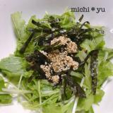 ごま香る♪  水菜と焼き海苔のシンプルサラダ