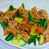 塩麹とキムチの豚肉炒めinきゅうり