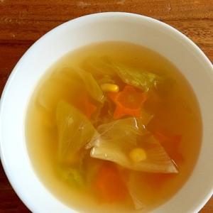 レタスとコーンのコンソメスープ