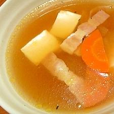 簡単♪ベーコンと豆腐のコンソメスープ