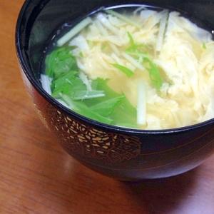 水菜と卵のお吸い物
