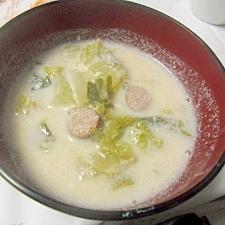 ヘルシー豆乳スープ 白菜とウインナー入り