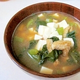 *つるむらさきと豆腐の味噌汁*