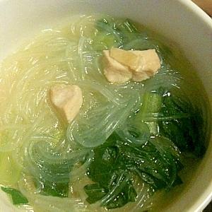 ホウレンソウの春雨スープ