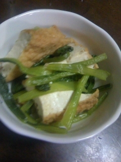 小松菜と厚揚げのキュウリのQちゃんお汁がけ