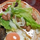金時豆(水煮)のとレーズンのグリーンサラダ。