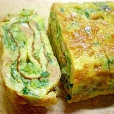 水菜と鶏ミンチ入り卵焼き