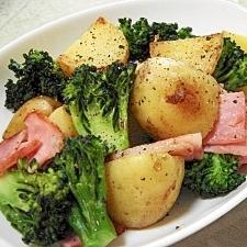 新じゃがとブロッコリーとベーコンの簡単炒め物