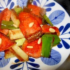 秋鮭とねぎのオイスターソース炒め