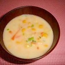 挽肉とスイートコーンのミルクスープ