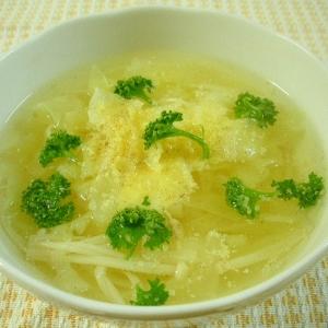 キャベツとエノキタケのゆで汁スープ