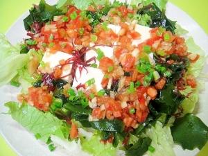 豆腐と海藻のトマトドレッシングサラダ