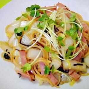 白菜と塩昆布の和風スパゲティ
